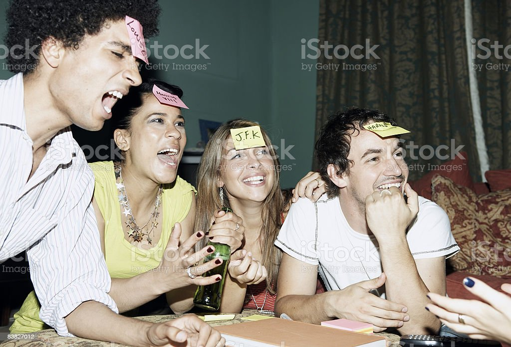 Friends playing game royalty-free stock photo