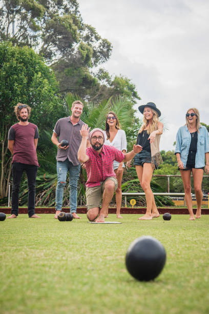Friends Playing Lawn Bowling Sydney Australia stock photo