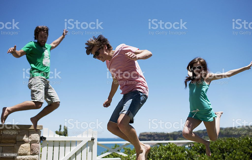 Friends playing on patio royalty-free stock photo