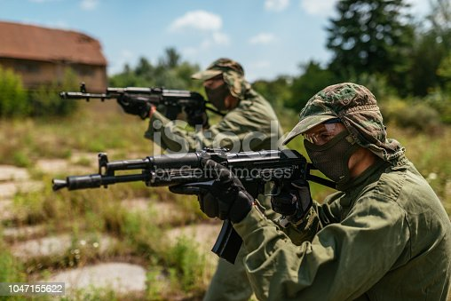 Popular warfare game with artificial - replica guns called airsoft, where players develop strategies and encourage teamwork.