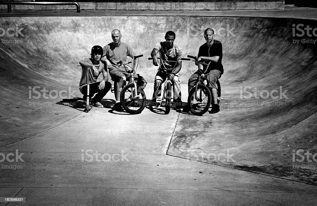 Friends Portrait at Skate Park royalty-free stock photo