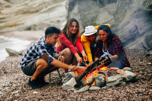 Friends prepare tasty marshmallows on campfire stock photo