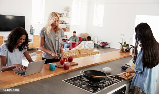 844050630 istock photo Friends Preparing Meal Together In Modern Kitchen 844050650