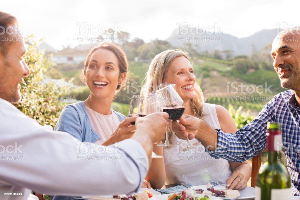 Friends raising toast stock photo