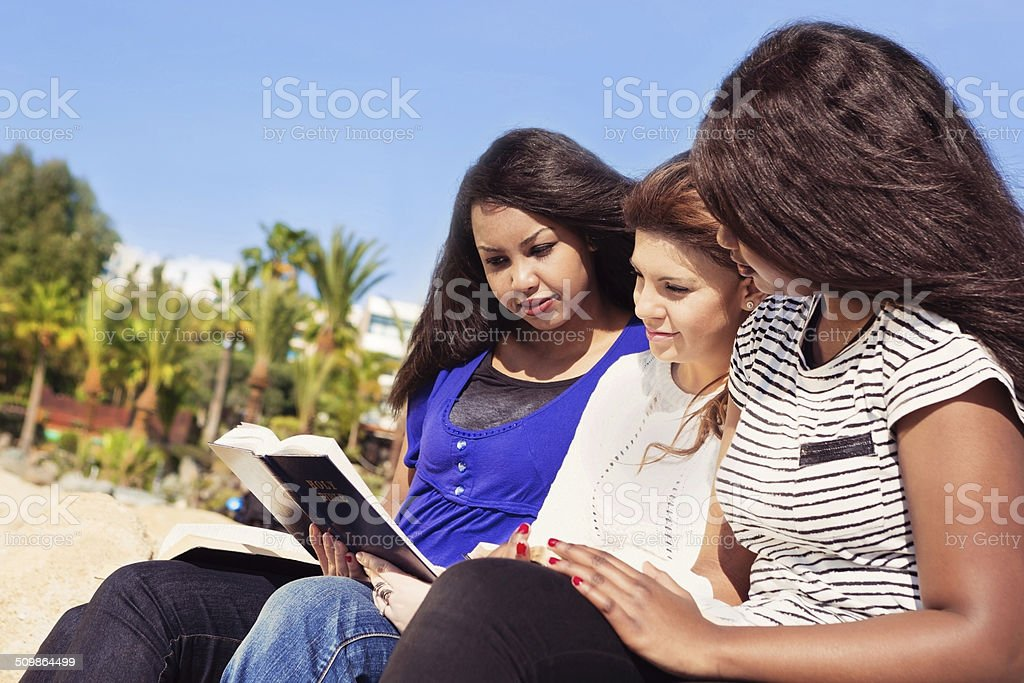 Friends Reading Bible on the Beach stock photo