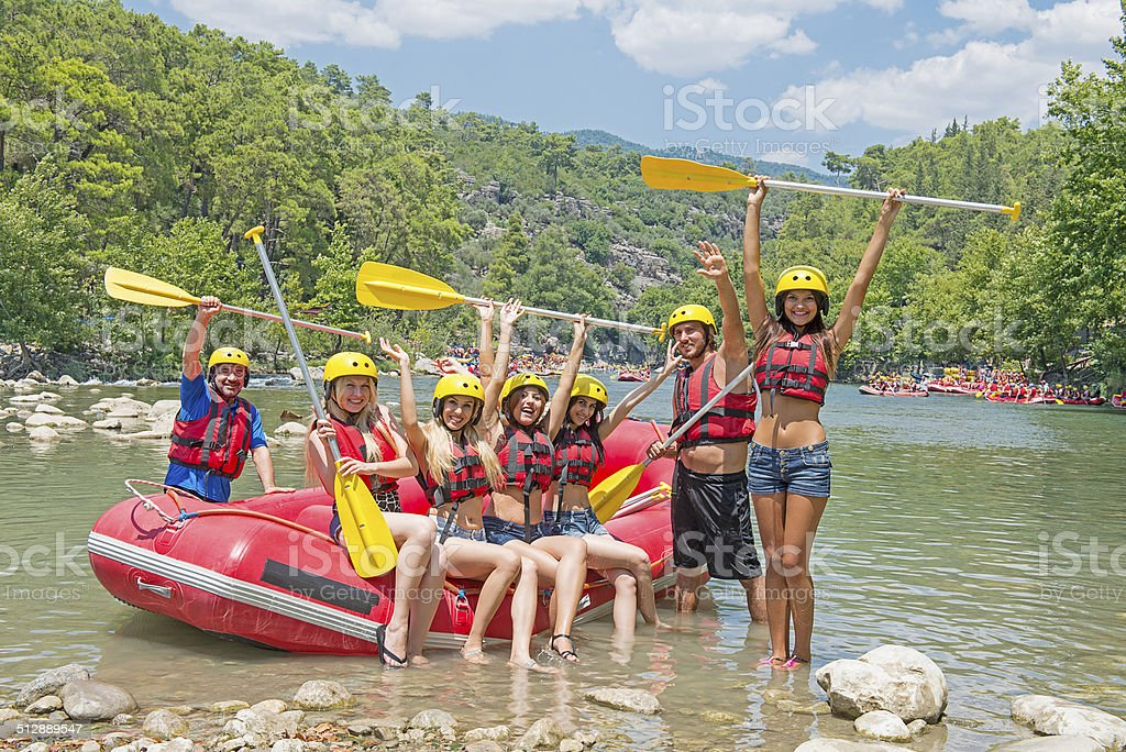 Friends ready for rafting stock photo