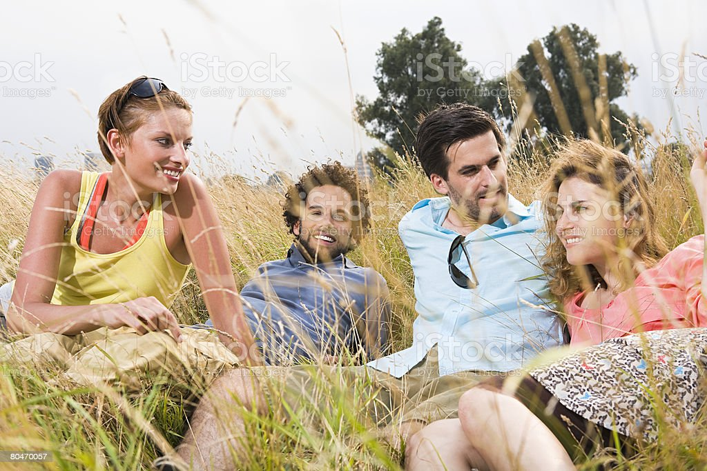 Friends relaxing in a field royalty-free stock photo