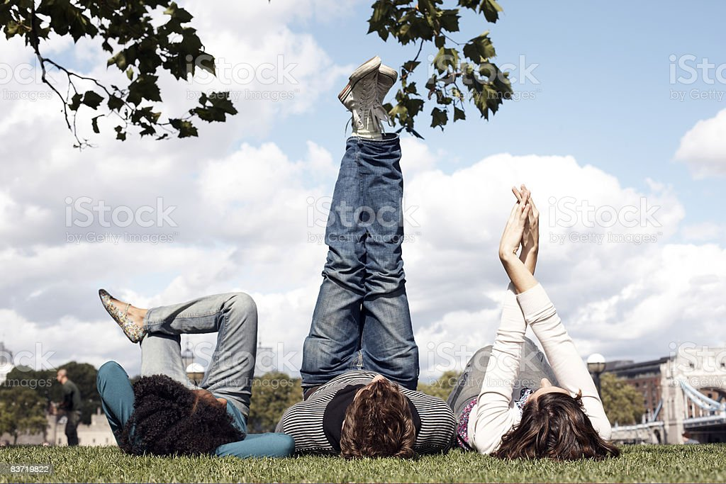 Friends relaxing in park royalty-free stock photo
