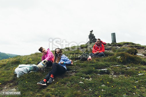 Two young women with long and curly hair and young man in eyeglasses and their small fluffy pug resting and talking by phone near their backpacks in Carpathian Mountains, Ukraine