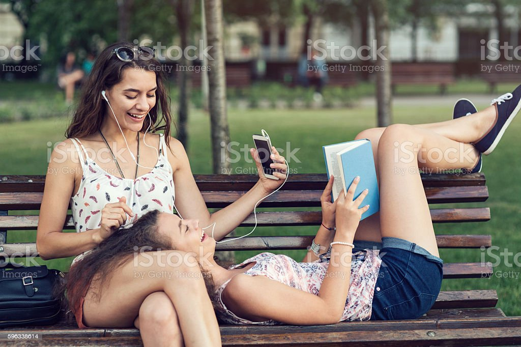Friends relaxing in the park royalty-free stock photo