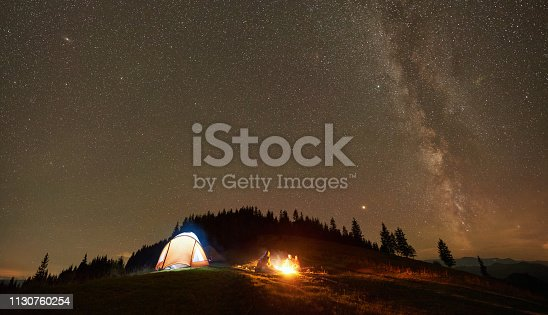 678554980 istock photo Friends resting beside camp, campfire under night starry sky 1130760254