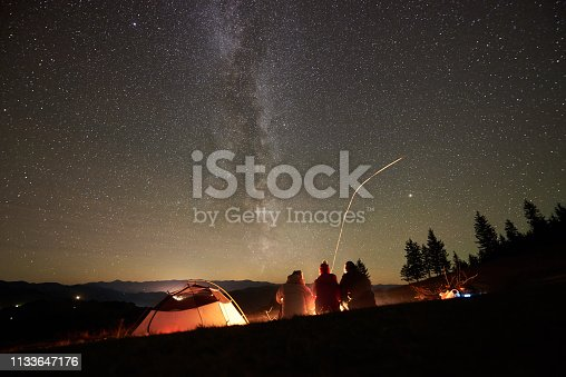 678554980 istock photo Friends resting beside camp, campfire under night starry sky 1133647176