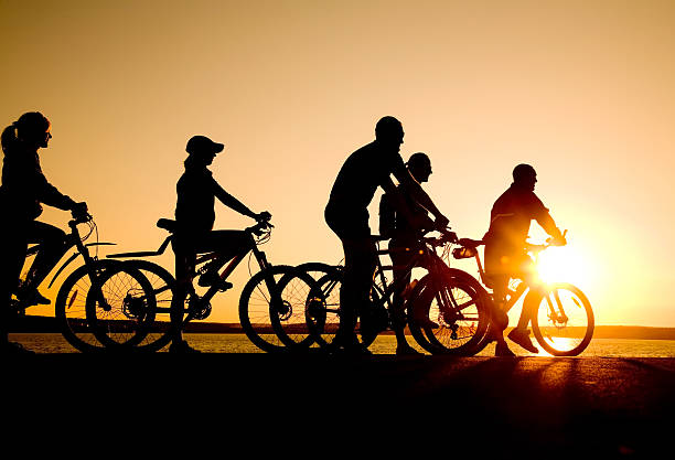 Friends riding bicycles at sunset Image of sporty company  friends on bicycles outdoors against sunset. Silhouette. female biker resting stock pictures, royalty-free photos & images