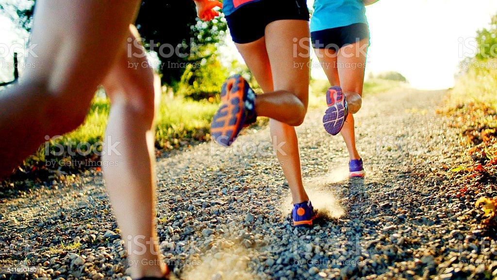 Friends Running stock photo