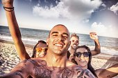 istock Friends self portrait on the beach 491996765