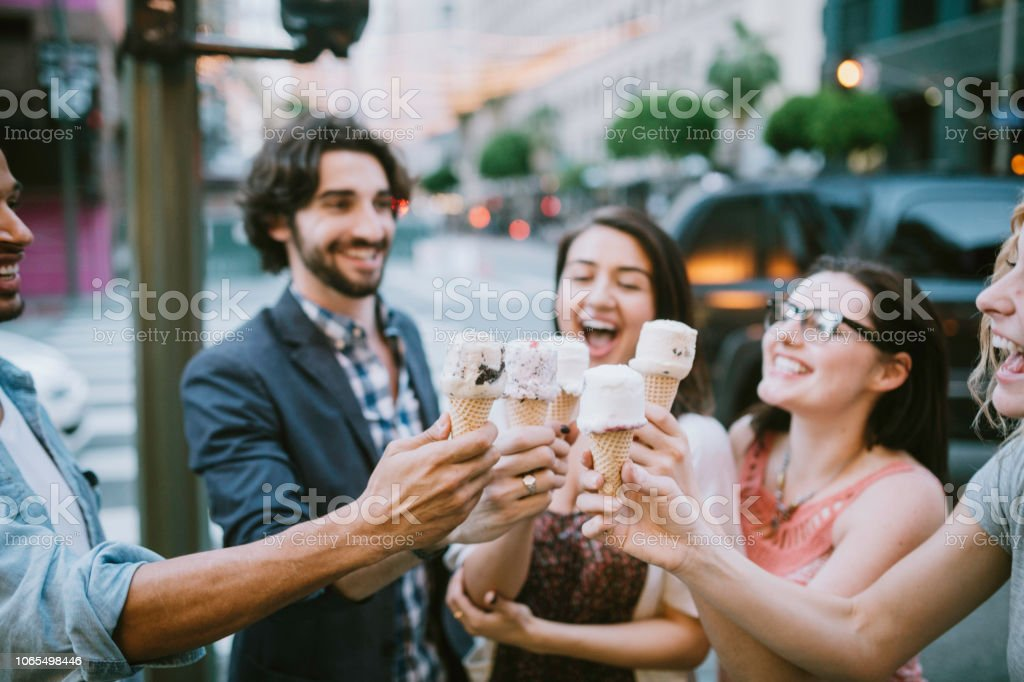 Friends Sharing Ice Cream Cones in Downtown LA stock photo