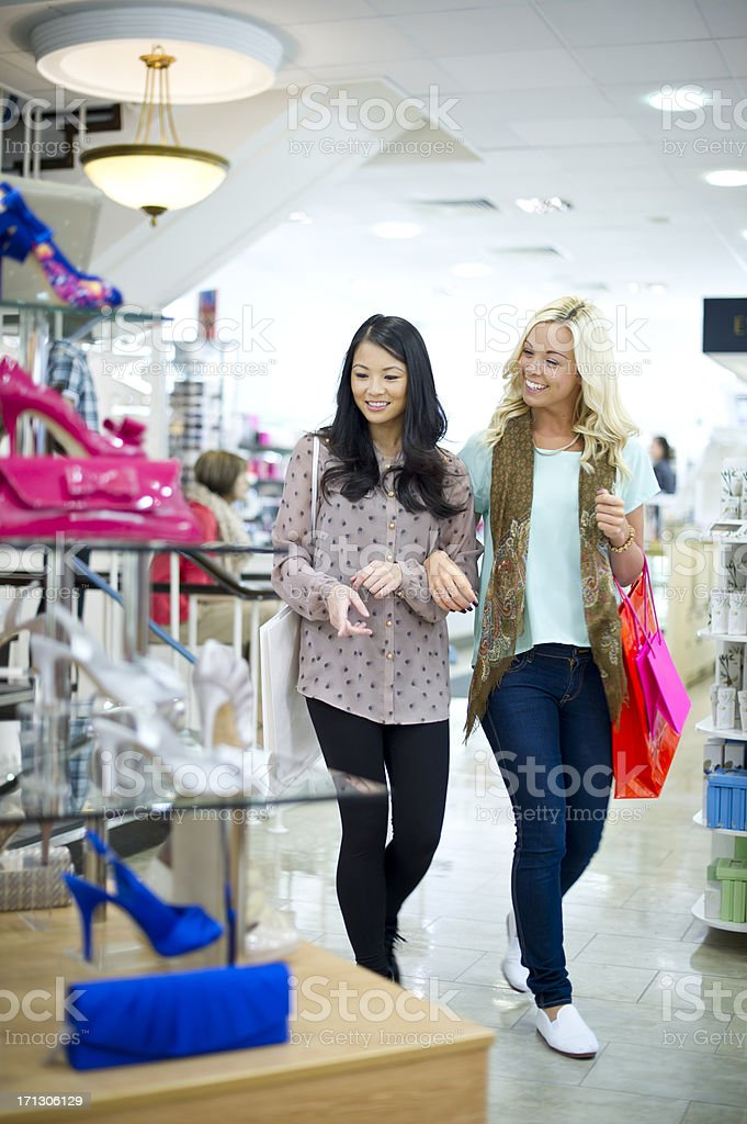 friends shoe shopping royalty-free stock photo