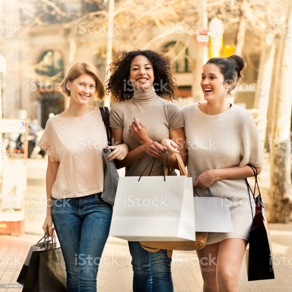 Friends shopping royalty-free stock photo