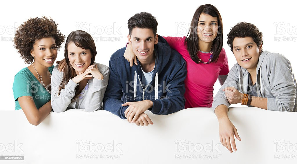 Friends showing placard stock photo