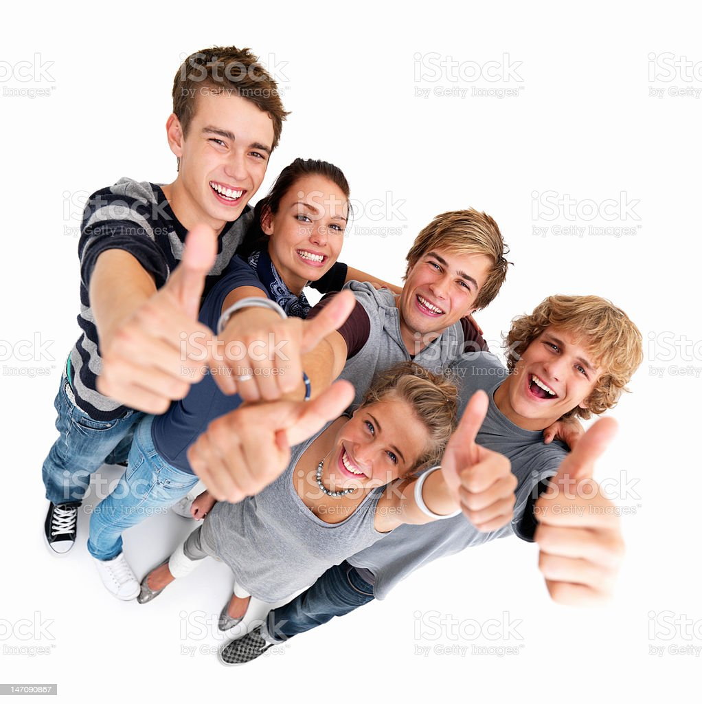 Friends showing thumbs up sign royalty-free stock photo