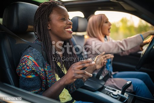 812419994istockphoto Friends singing on a road trip 1150137470