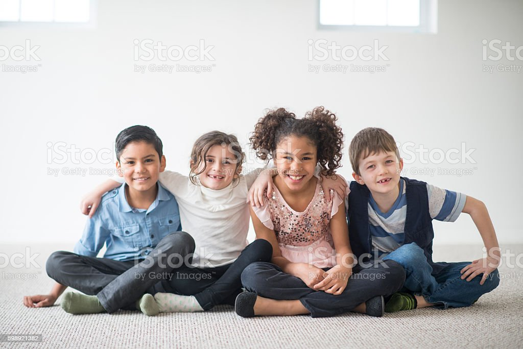 Friends Sitting Together stock photo