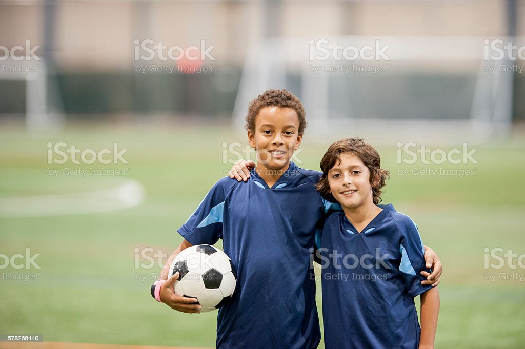 Friends Smiling After the Soccer Game - foto de stock