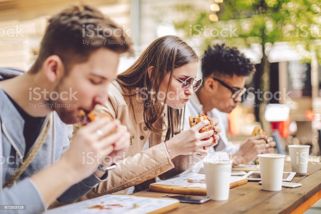 Friends spending time together in the city stock photo