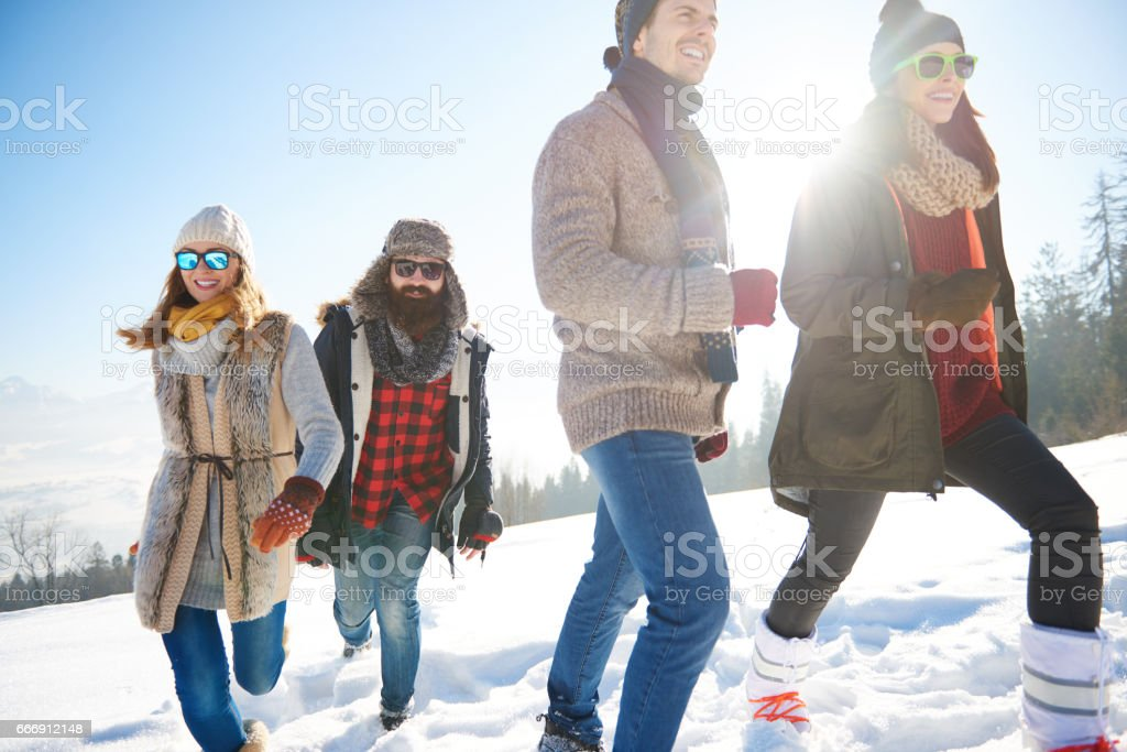 Friends spending winter holiday in the mountain stock photo
