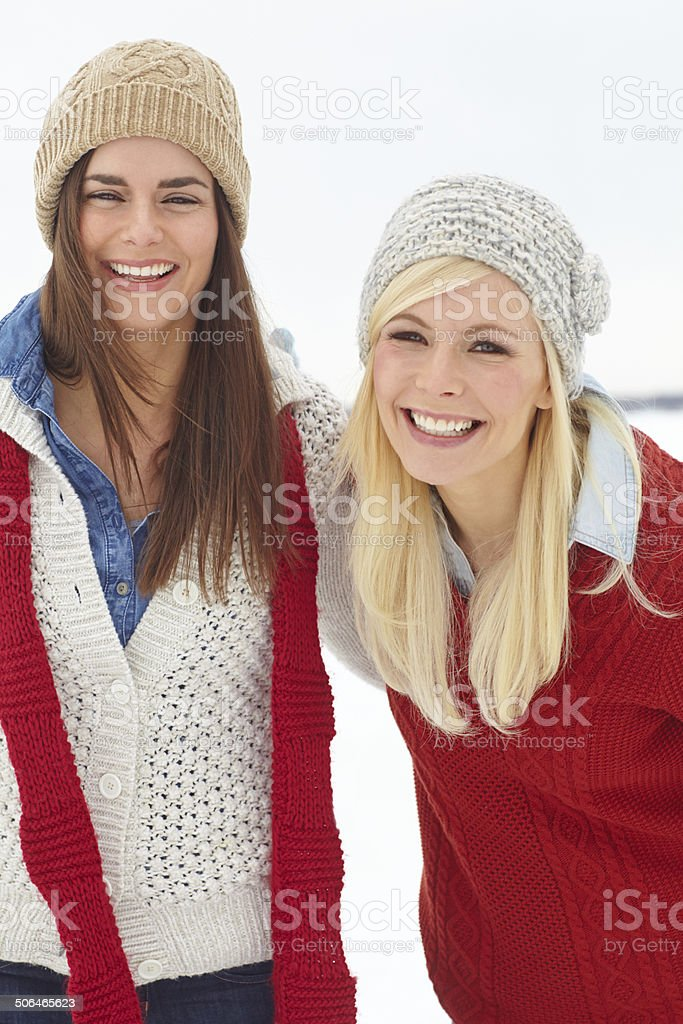 Friends stand with you in the cold royalty-free stock photo