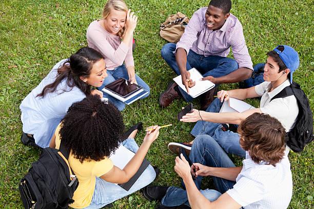 teman belajar di rumput - student study outdoor potret stok, foto, & gambar bebas royalti
