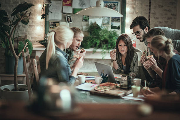friends studying together - eating technology stock photos and pictures