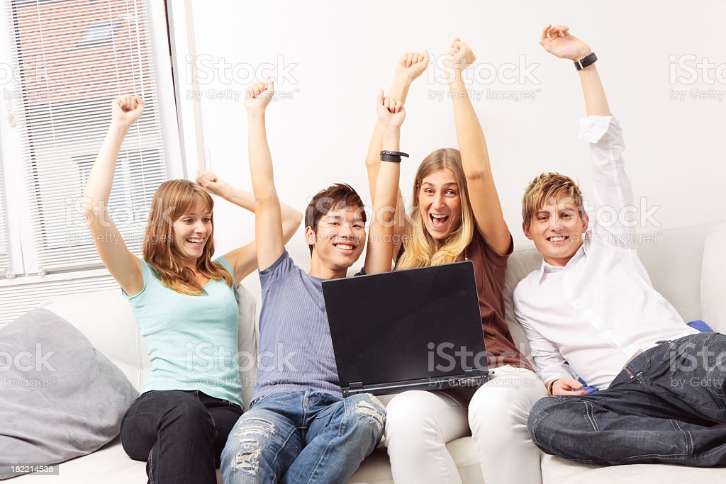 friends surfing the web royalty-free stock photo