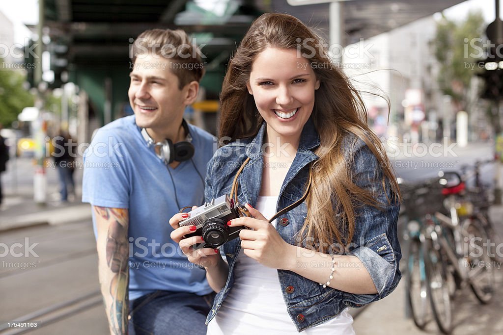 Friends taking a picture royalty-free stock photo