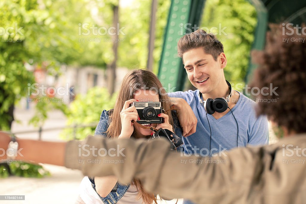 Friends taking a picture stock photo