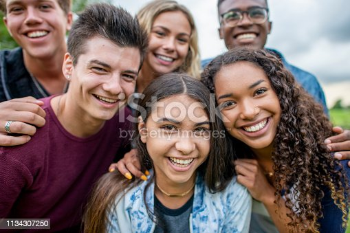 A multi-ethnic group of high school students are outdoors on a summer day. They are gathered together to take a selfie, and they are all smiling.
