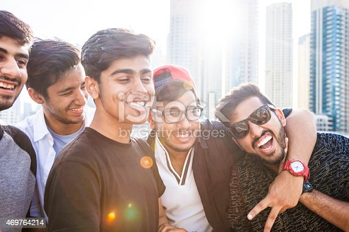 469416394 istock photo Friends taking a selfie in Dubai Marina during a vacation 469764214