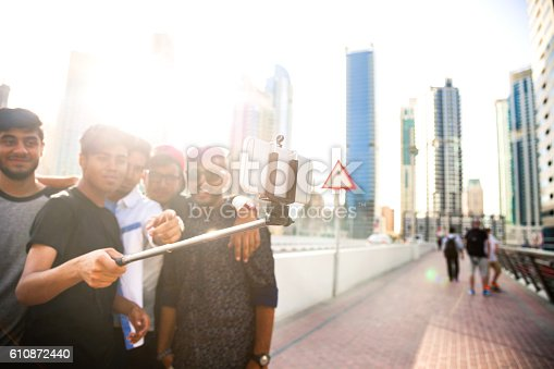 istock Friends taking a selfie in Dubai Marina during a vacation 610872440