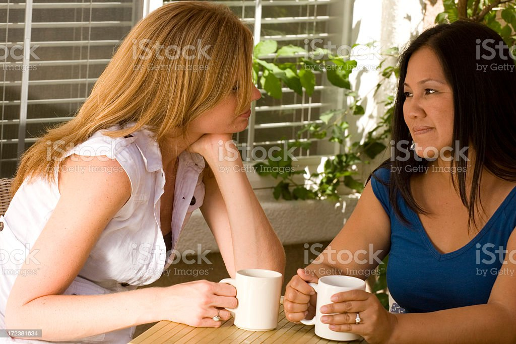 Friends talking and having fun royalty-free stock photo