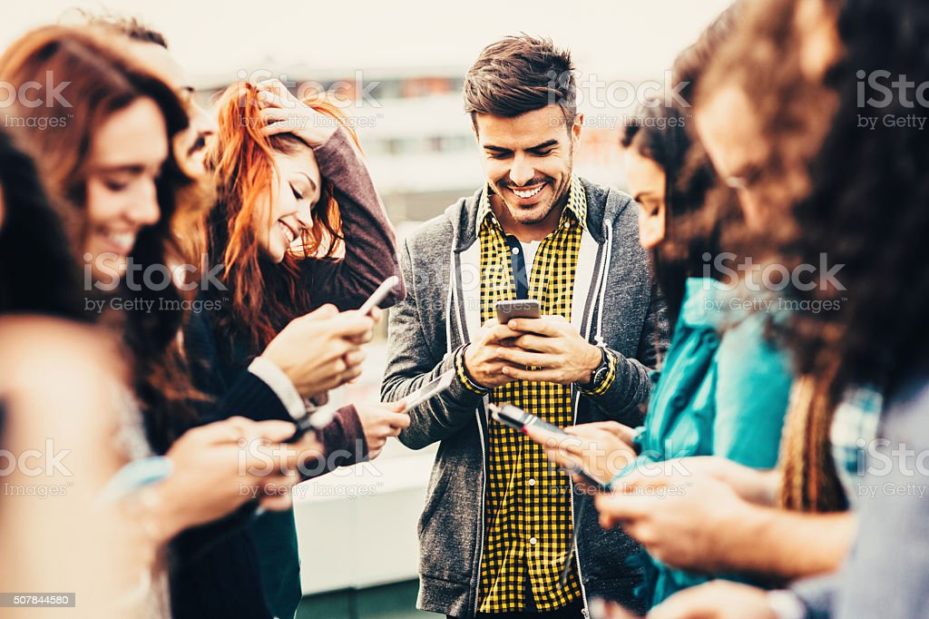Friends Texting stock photo