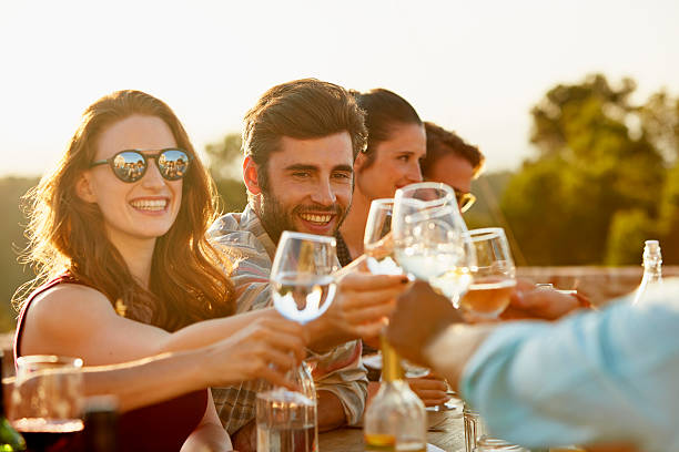 Friends toasting at dinner party Group of friends toasting and laughing while having dinner outside white wine stock pictures, royalty-free photos & images