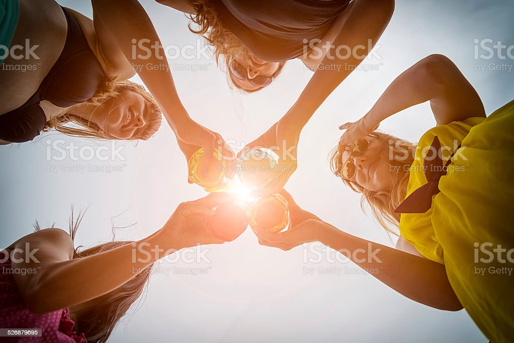 Friends toasting at party stock photo