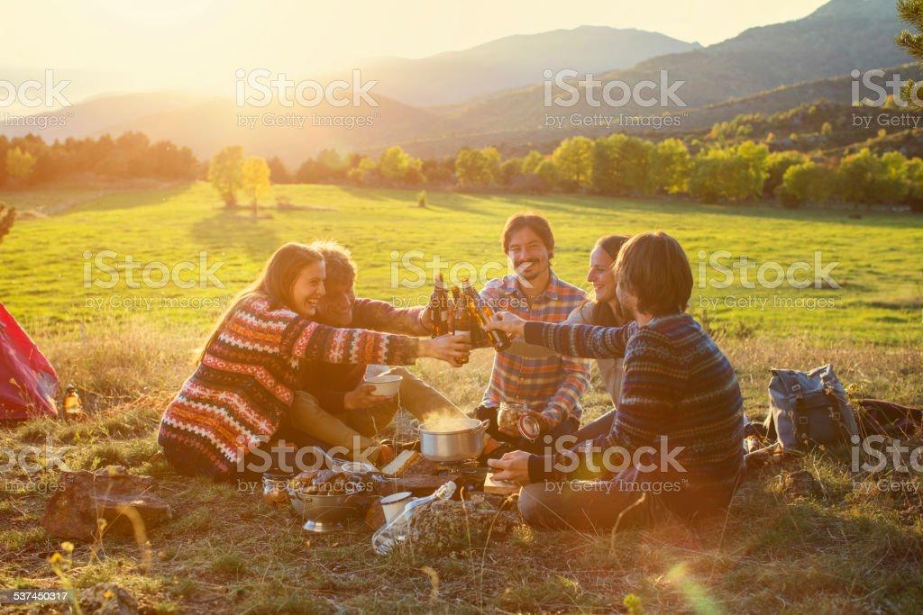 Friends toasting beer bottles on field - foto de acervo