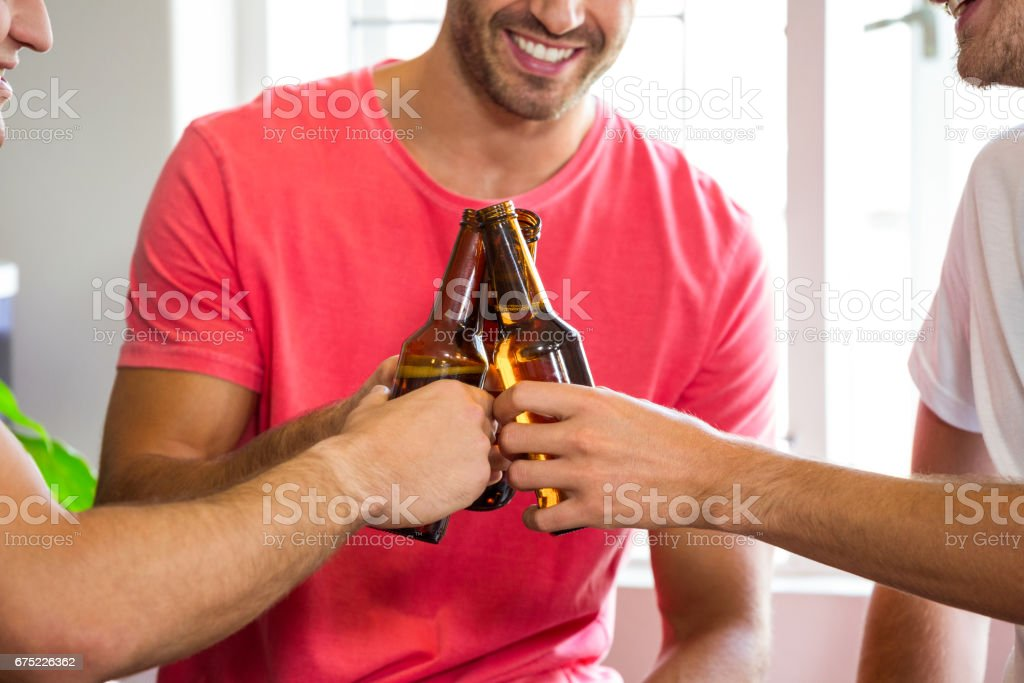 Friends toasting beer bottles royalty-free stock photo