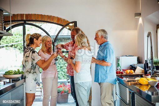 A horizontal image of ta  group of mature friends celebrating in the kitchen of their holiday home. They are pouring a drinking red wine and look very merry.