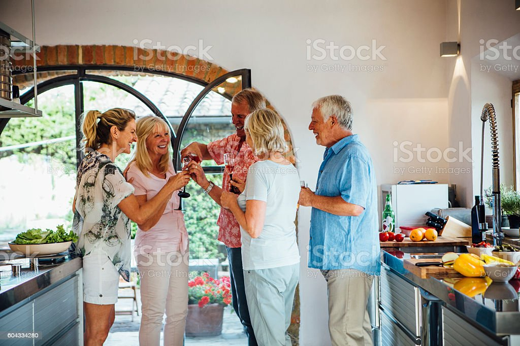 Friends Toasting to Good Times stock photo