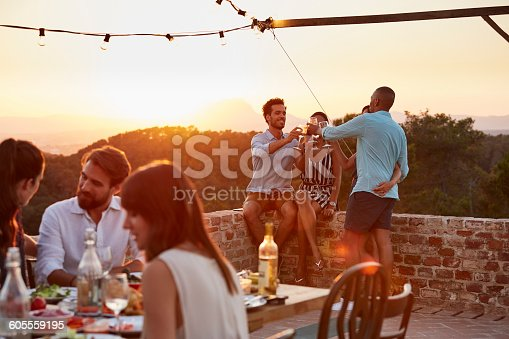 Happy friends toasting wine glasses at patio during dinner party