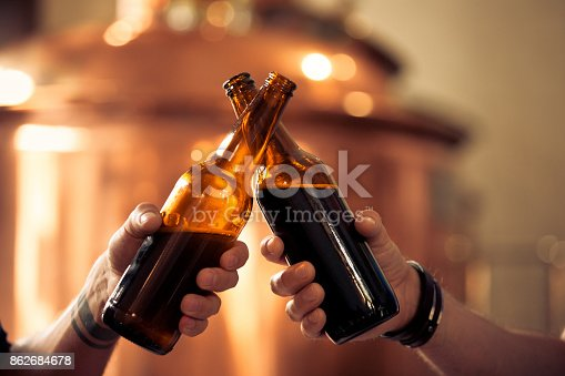 istock Friends toasting with beer bottles in the microbrewery 862684678