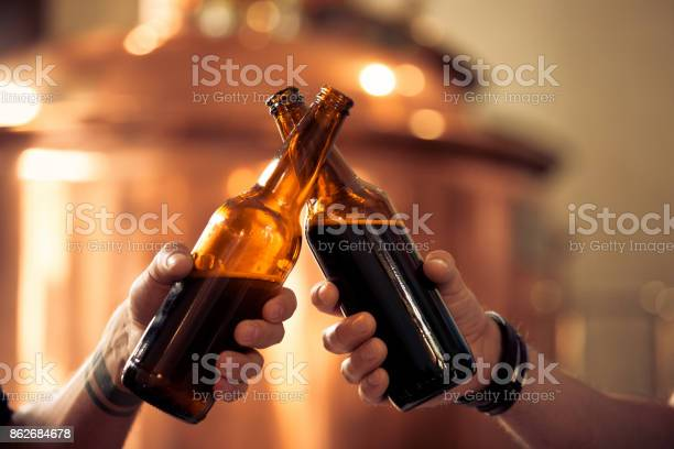 Friends Toasting With Beer Bottles In The Microbrewery Stock Photo - Download Image Now