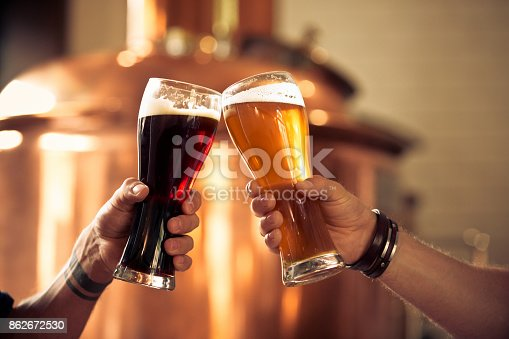 istock Friends toasting with beer glasses in the microbrewery 862672530